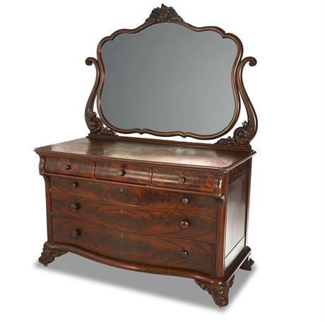 Antique Victorian Mahogany Flame Dresser