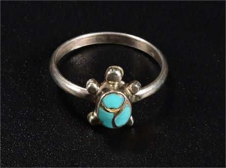 Inlay Turquoise Turtle Ring