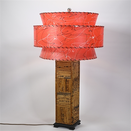 Burnt Bamboo Table Lamp