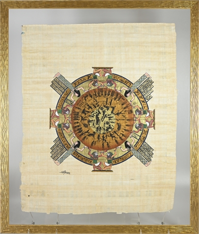 Hand Painted Egyptian Calendar on Papyrus Paper