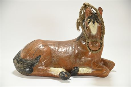 Vintage Leather Wrapped Decorative Horse
