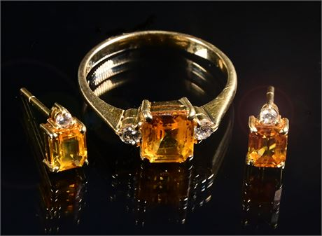 18K Yellow Gold Citrine and Diamond Ring and Earring Set