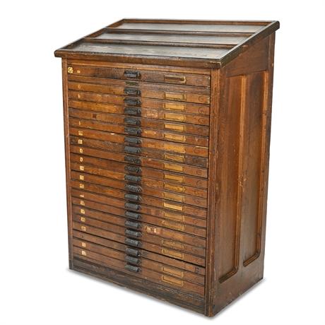 Antique Hamilton Oak Printers Letterpress Cabinet