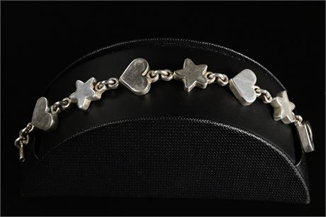TAXCO Sterling Silver Heart and Star Bracelet