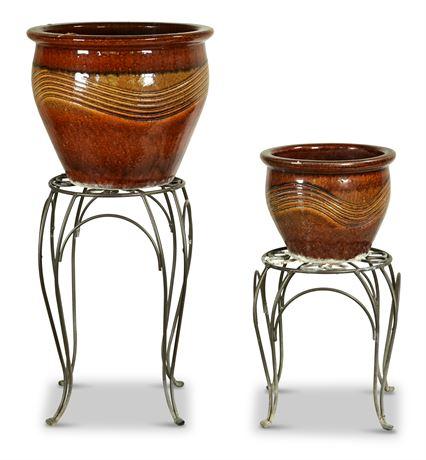 Pair Ceramic Planters