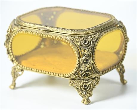 French Beveled Amber Glass Jewelry Casket Dresser Box