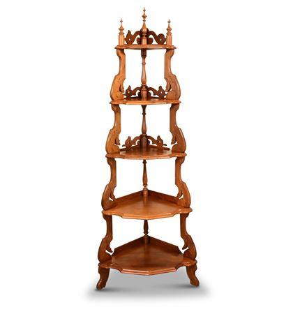 Antique Victorian Walnut Five Tiered Corner Shelf