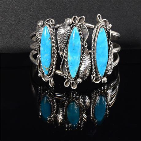 Vintage Turquoise Sterling Navajo Cuff Bracelet