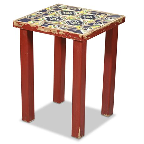 Wood and Mexican Tile Side Table