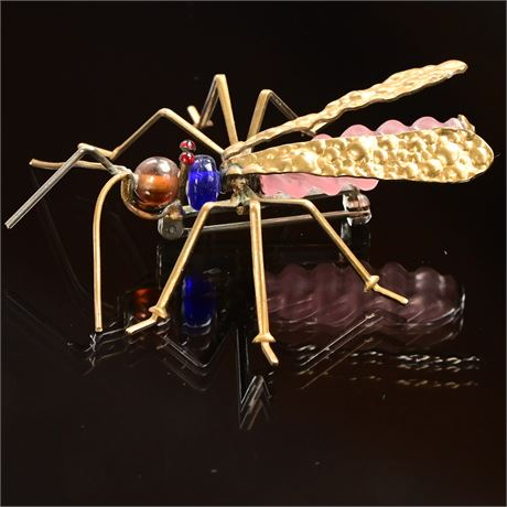 Whimsical Art Glass and Brass Insect Broach