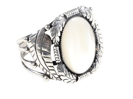 Old Pawn Sterling Silver and Mother of Pearl Cuff Bracelet