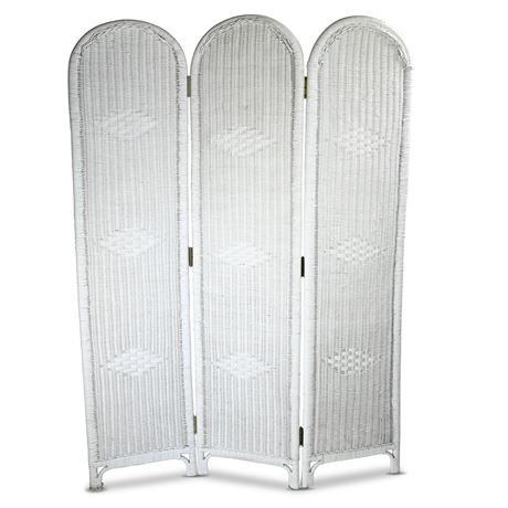 French White Wicker Room Divider