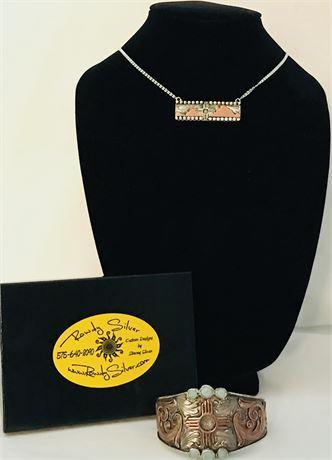 Handmade Women's Sterling Silver Pendant and Bracelet Set
