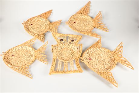 Vintage Straw Fish and Owl Baskets