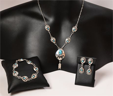 Vintage Navajo Sterling Silver & Turquoise Shadowbox Bear Claw 3 Piece Set