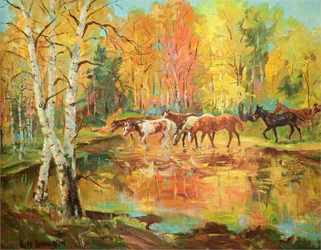 "Cliff Donaldson ""Autumn Reflections"" Original Oil on Canvas Panel"