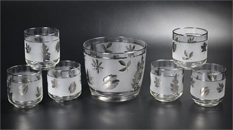 Libbey Frosted Silver Leaf Barware