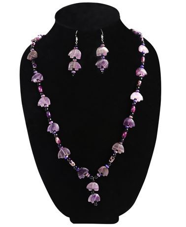 Amethyst Bear Necklace and Earring Set