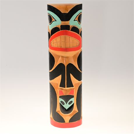 Tlingit Carved Totem Pole with Frog and Cat