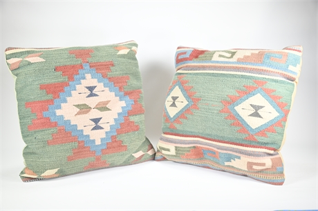 Pair Flat Woven Southwest Style Accent Pillows