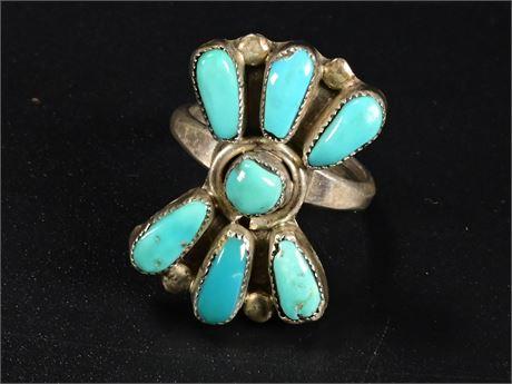 Vintage Zuni Turquoise  & Sterling Ring