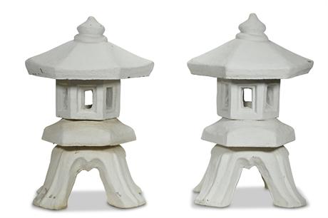 Pair Vintage Concrete Pagoda Sculptures