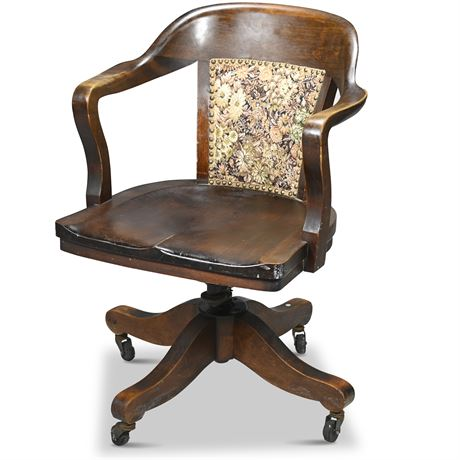 Antique English Mahogany Bankers Chair
