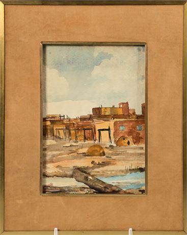"""Taos"" Original Watercolor By Helen Haley"