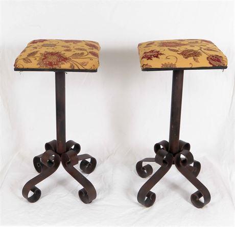 Black Iron Upholstered Stools