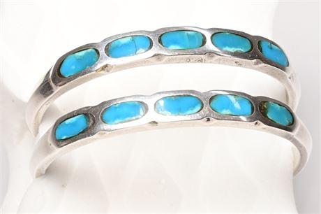 Pair of Vintage Navajo Inlaid Turquoise Cuff Bracelets