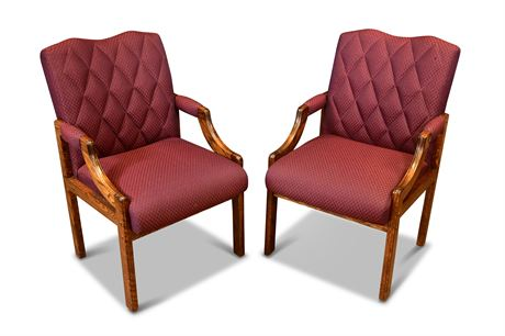 Pair of Upholstered Oak Arm Chairs