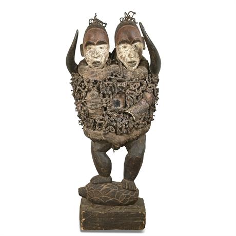 Double Faced African Bakongo Nkondi Nail Fetish Figure