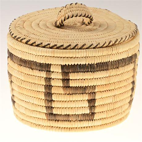 Vintage Hopi Coiled Basket with Lid