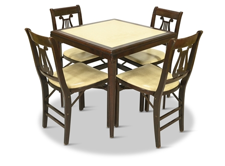 Antique Stakmore Furniture Card Table and Chairs