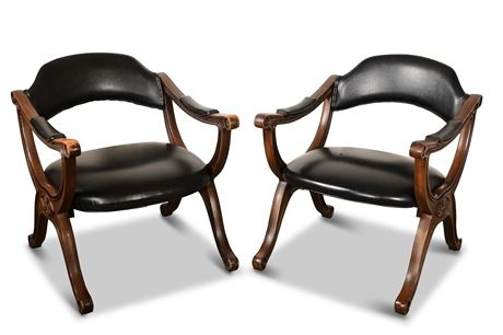 Pair of Vintage Campaign Style Chairs by Drexel Heritage