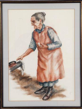 Woman Baking Framed Print