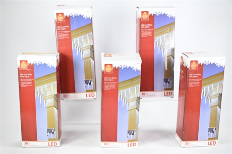 (5) Boxes LED Cool White Icicle Lights