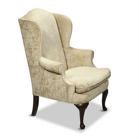 Baker Queen Anne Custom Upholstered Wingback Chair