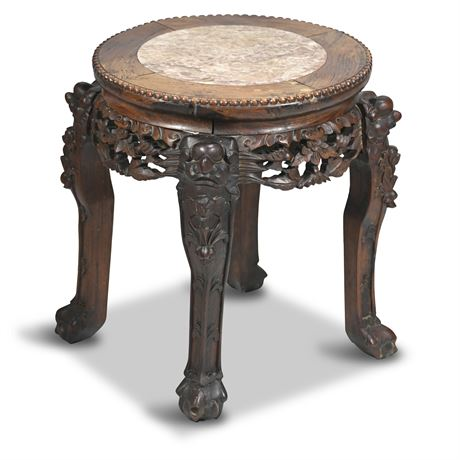 Carved Chinese Marble Top Table