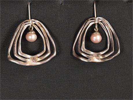 Pair of Brutalist Sterling and Pearl Earrings