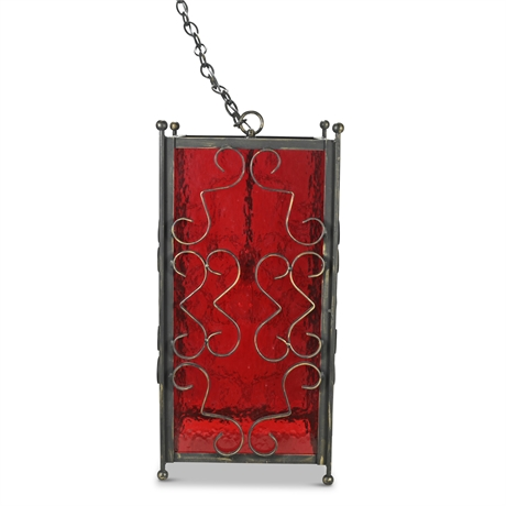 Gothic Spanish Revival Red Faux Glass Lamp