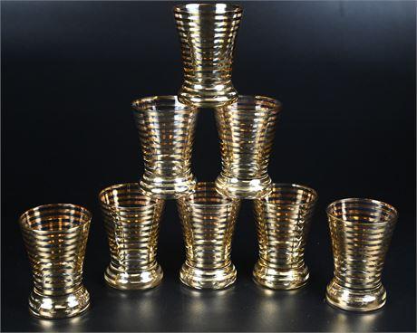 Gold Striped Mid-Century Juice Glasses