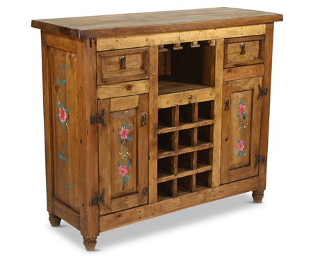 Rustic Hand Painted Wine Cabinet/Bar