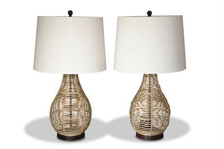 Pair Rattan Table Lamps