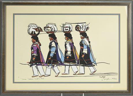 "Wayne Beyale ""Zuni Women with Pots"" Framed Print"