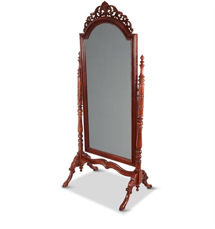 Regency Reproduction Ornate Carved Mahogany Cheval Mirror