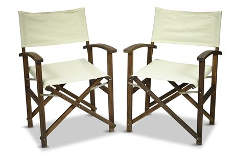 Pair Classic Folding Wood Directors Chairs