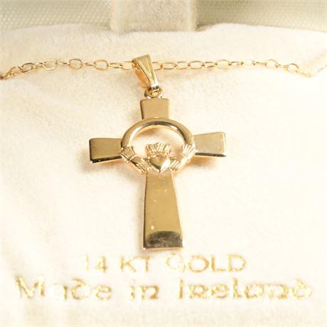 14K Solvar Irish Cross Pendant