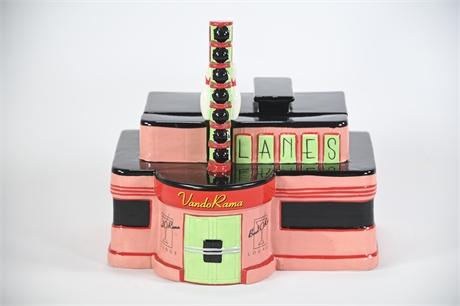 """2001 Vandor """"Bowl O Rama Lounge Vando Rama Bowling Lanes"""" Cookie Jar"""