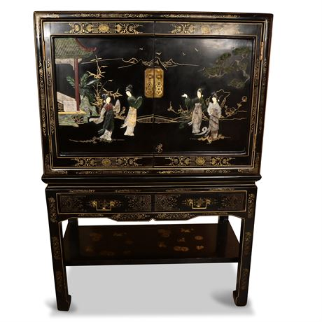 Chinese Lacquered Cabinet with Stone Accents